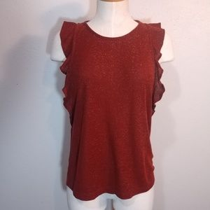 Ribbed Knit Sparkle Madewell Top w/ Ruffles Large
